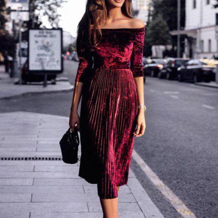 Women's Velvet Off-Shoulder Casual Mid Sleeve Even