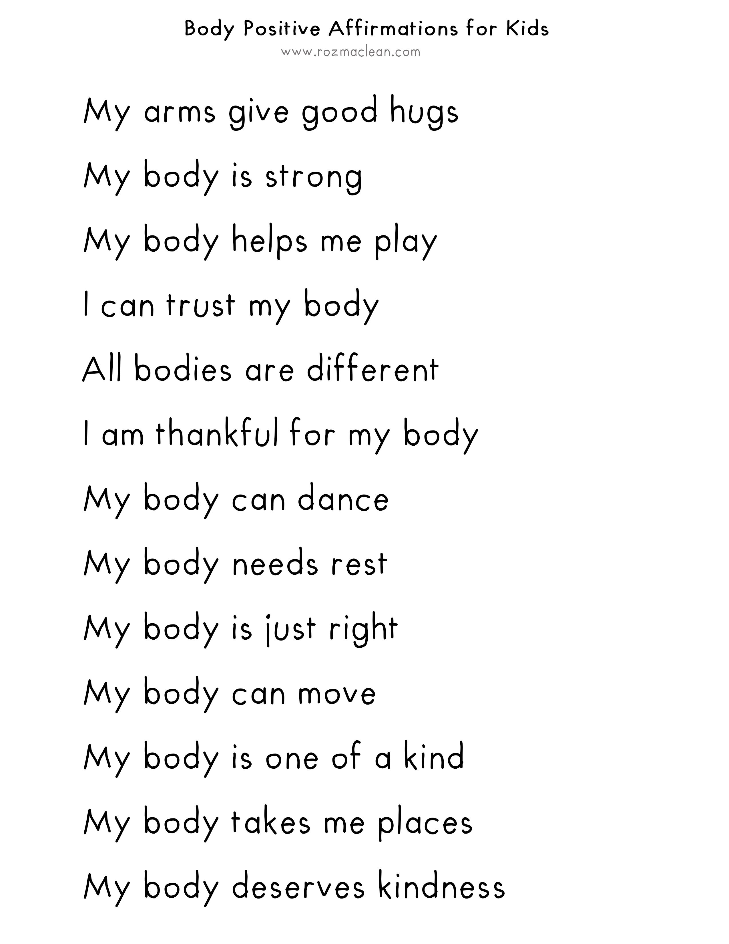 Body Positive Affirmations for Kids and Body Positive Craft