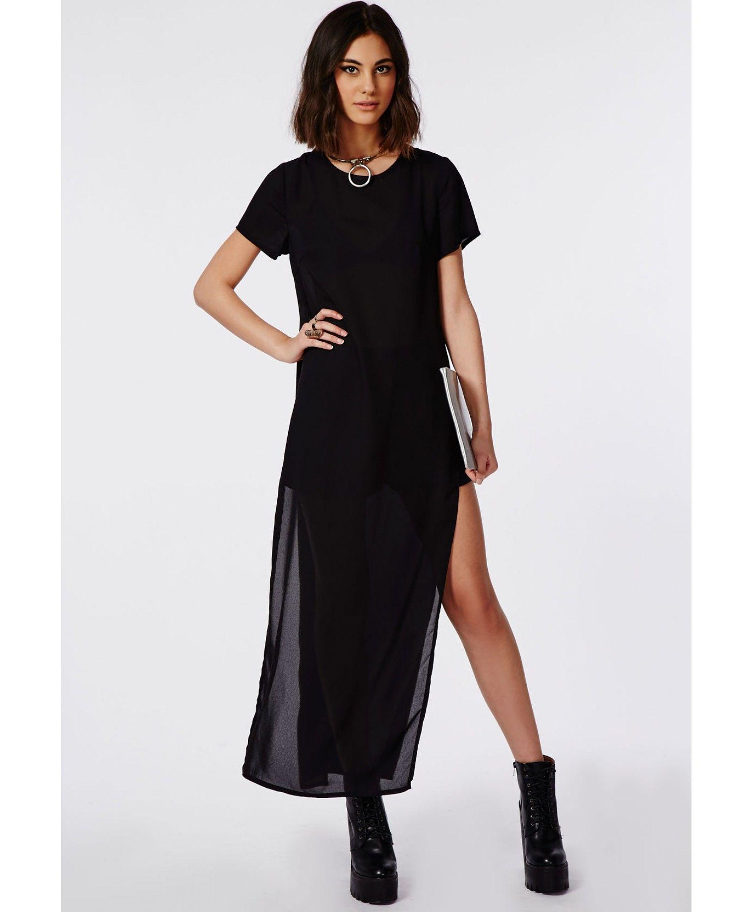 31faa704ee6 Crepe Split Side Maxi T-Shirt Dress Black - Dresses - T-Shirt Dresses -  Missguided