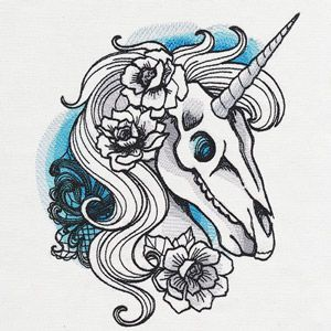cb37a0b04 Painterly stitches and shadows make up this radiant unicorn skull design.  Stitch onto clothing, decor, and more.
