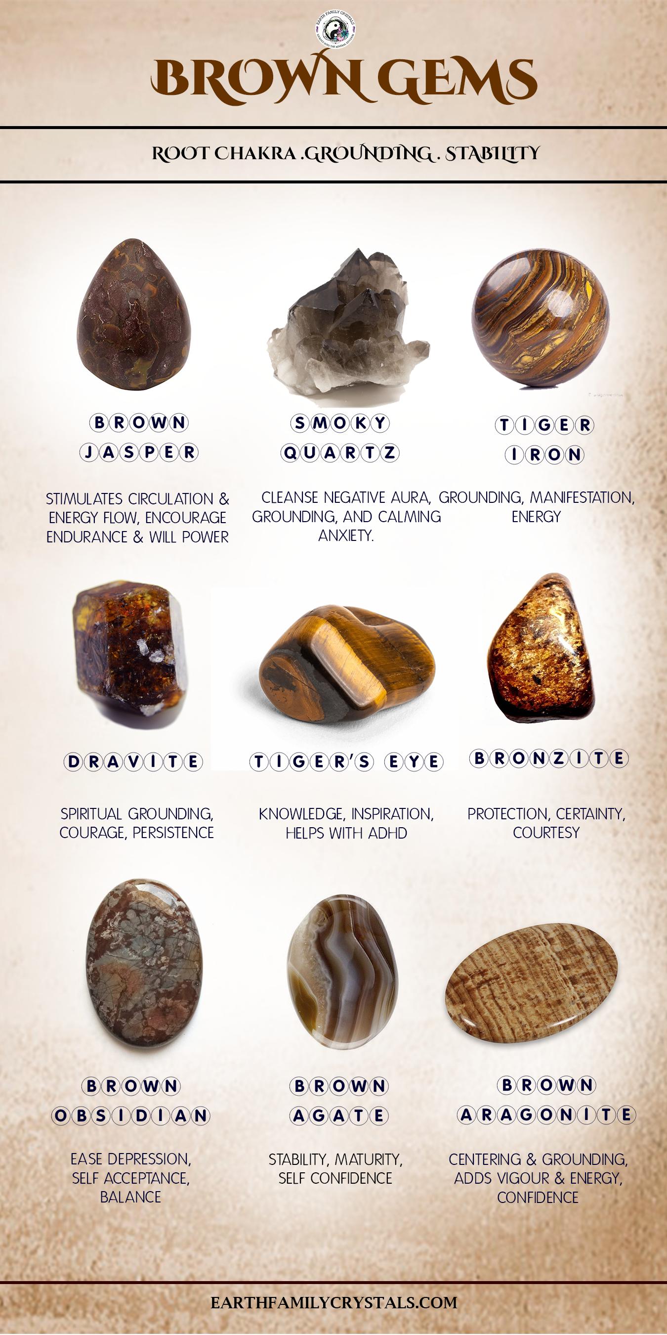 Brown Gemstones. Root Chakra, Grounding, Stability