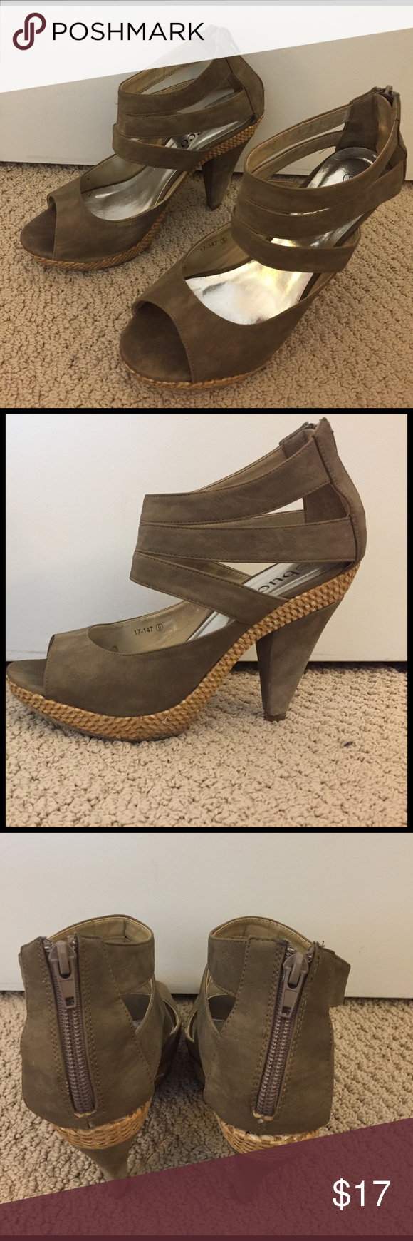 Dark olive and straw heels In original box. Bucco size 9 deep olive color. Zip back. Some wear on bottom as seen in photos. Bucco Shoes Heels