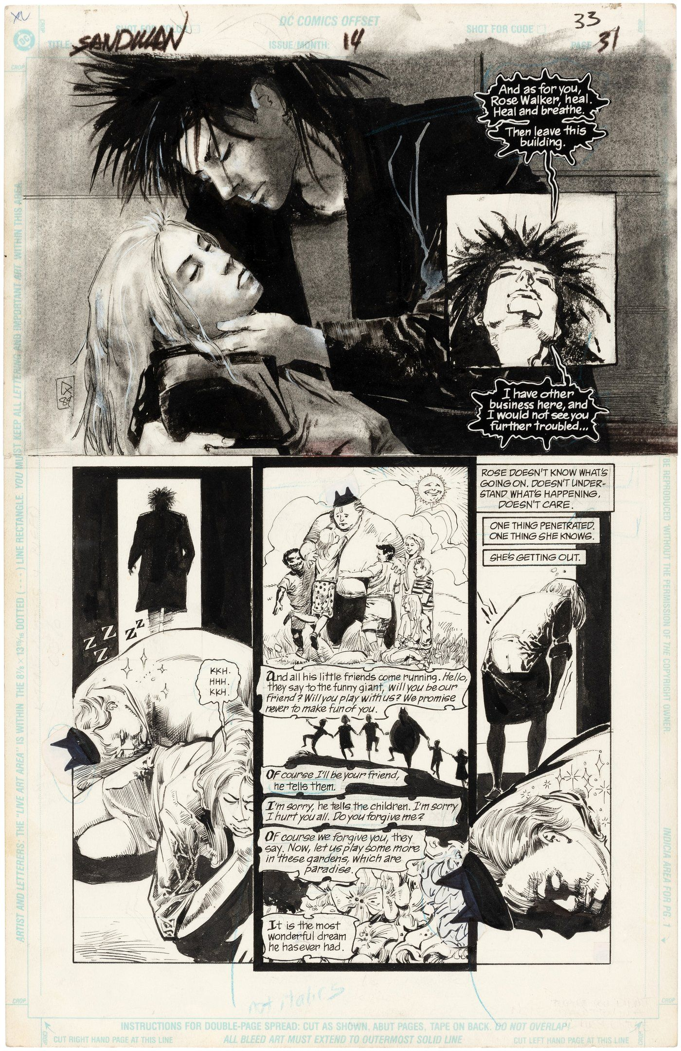 Hake S Sandman 14 Comic Book Page Original Art By Mike Dringenberg Sandman Sandman Comic Art