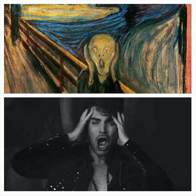 The Scream Edvard Munch version. The Scream Adam Lambert version
