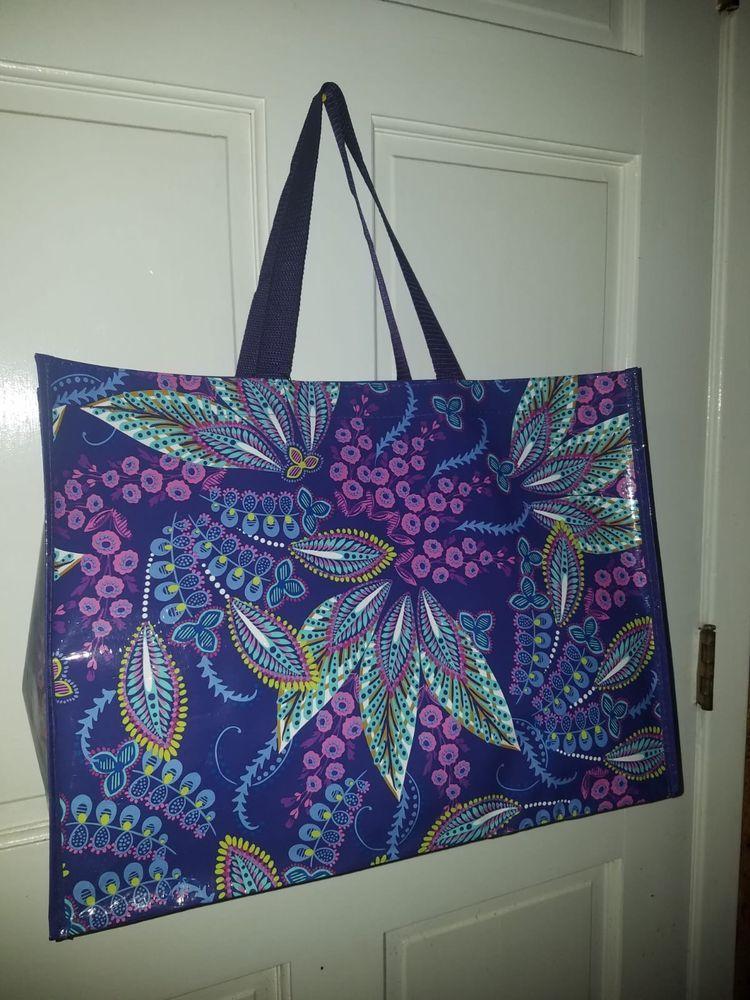 649fa03222 Vera Bradley Batik Leaf Purple Gift Reusable Shoulder Shopper Market Tote