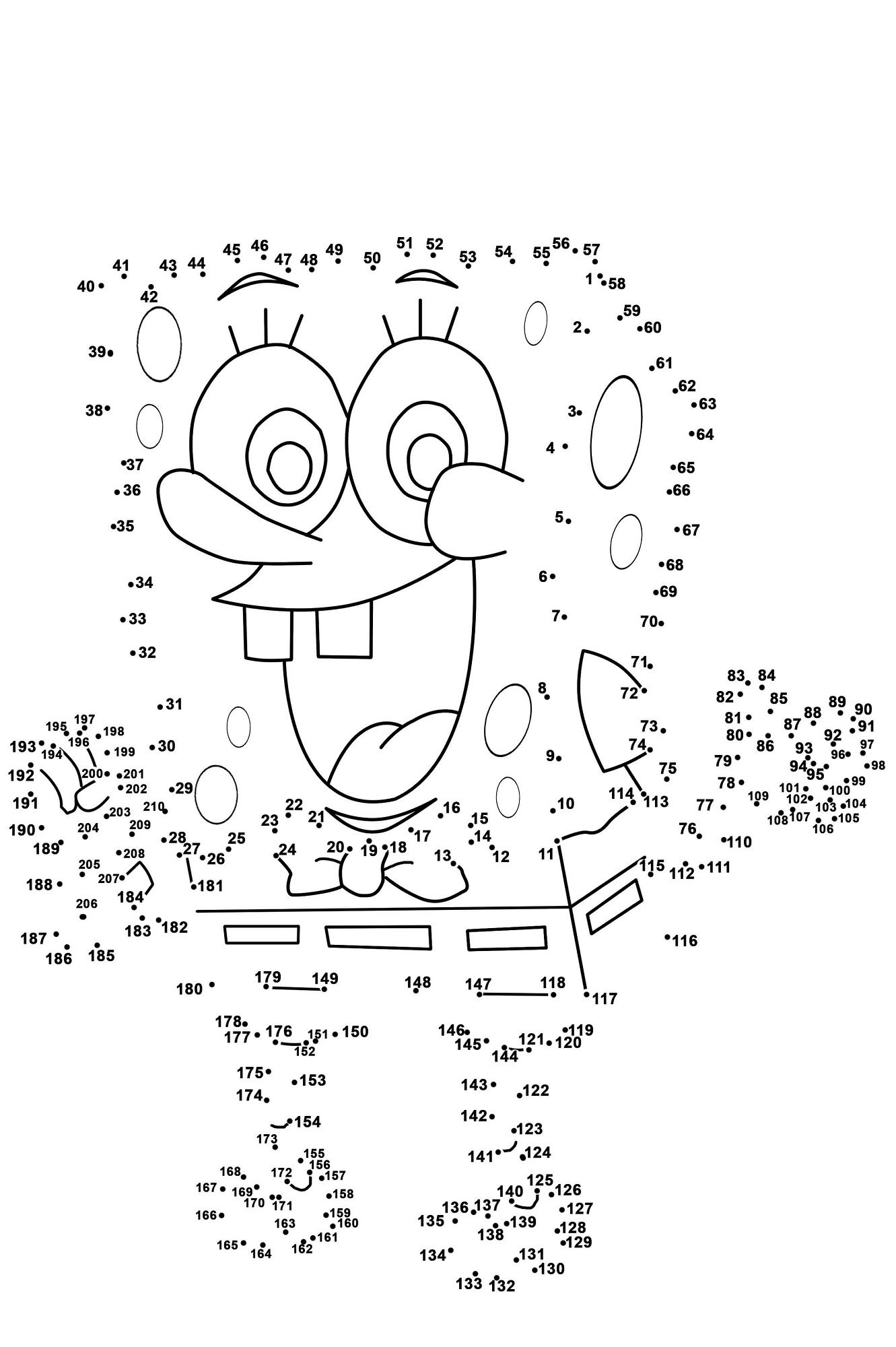 Good Dot To Dot Printables Spongebob Medium Level | Activity Shelter