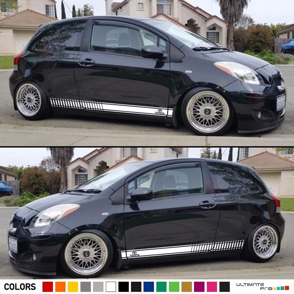Sticker vinyl decal graphic stripe body kit for toyota yaris rs racing door side ultimateprocy1
