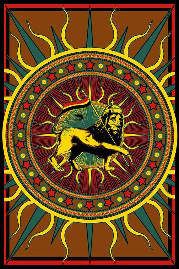 f913ad5f Rasta Lion with Flag Tapestry Wall Hanging by RockBandTshirts, $25.00