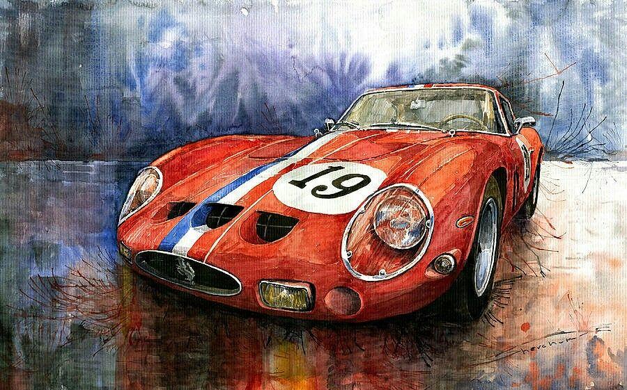 U201cFerrari 250 GTOu201d Painting By Yuriy Shevchuk. The Number 19 Car Was Driven