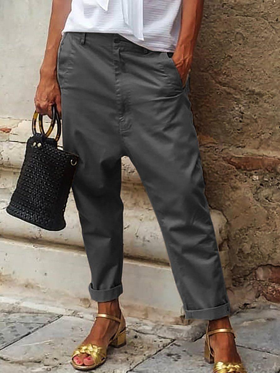 Women Drop Crotch Plus Size Cotton Pant Bottom Botton Pocket Zipper Casual Pants Gaminegal In 2020 Fashion Pants Plain Pants Fashion