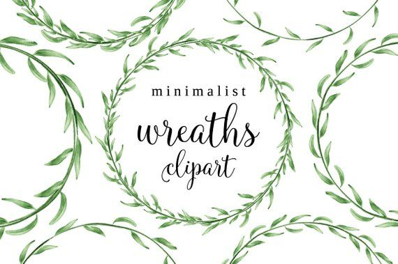 Watercolor Wreath Clipart Laurel Frame Png Wreath Clip Art Minimalist Wreath Green Leaves - diy wedd #mumsetc