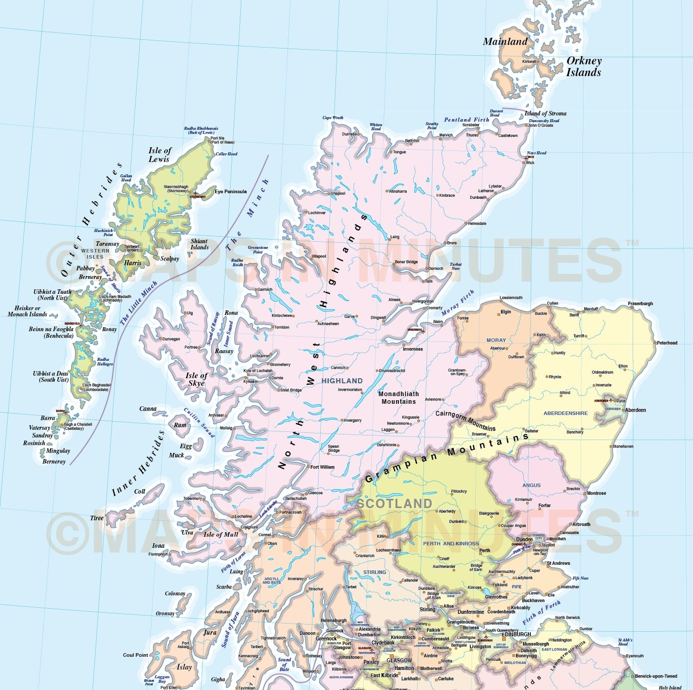 It's just a picture of Nifty Printable Map of Scotland