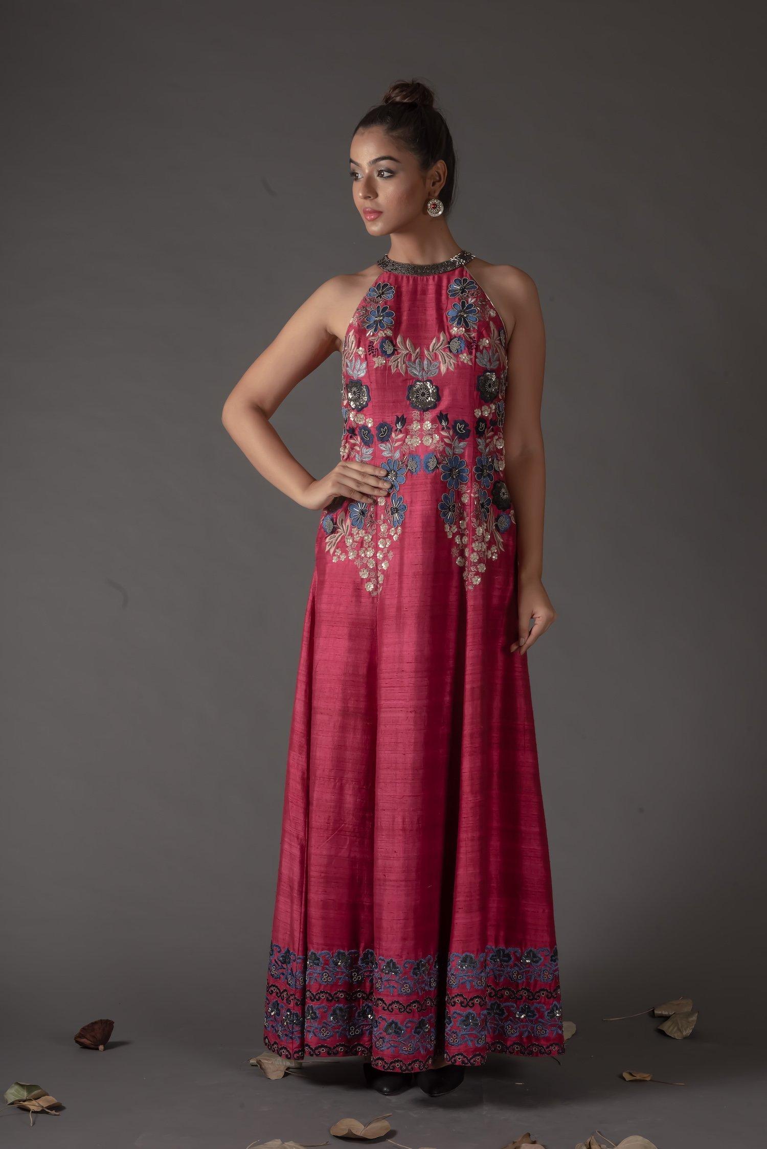 Plum Halter Neckline Embroidered Dress |