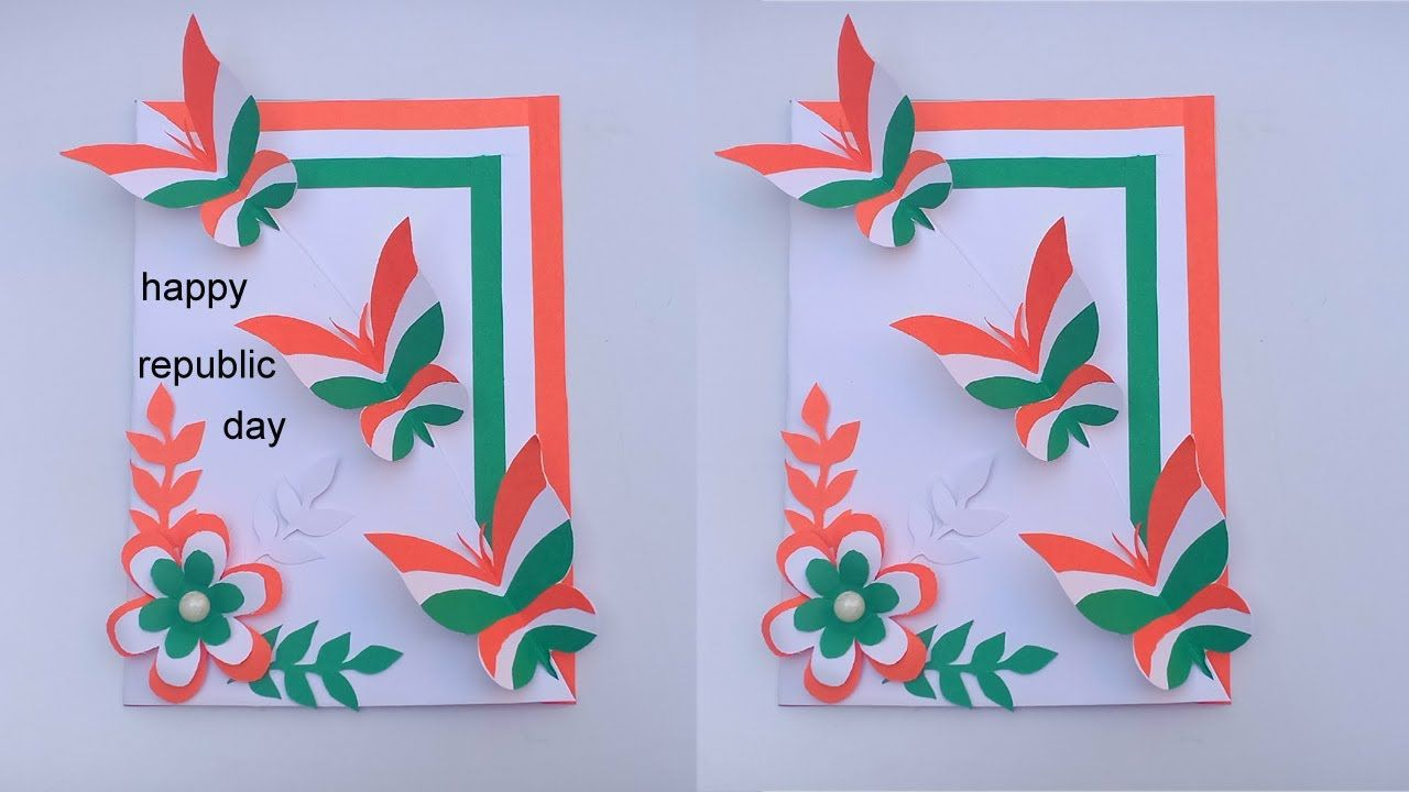 Republic Day Card Tricolor Butterfly Greeting Card Diy Art And Craft Cr Greeting Cards Diy Greeting Card Art Diy Arts And Crafts