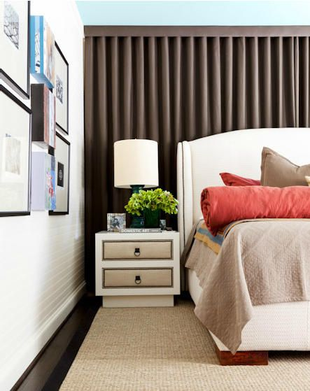 BEDROOM drape wall behind headboard | photo: Nathan Schroder ...