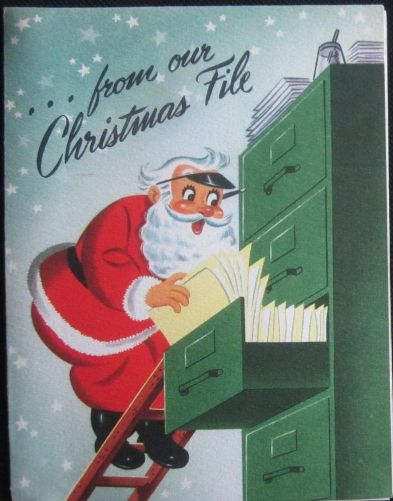 Unused Vintage Christmas Greeting Card Sample Adv Santa in the - greeting card format