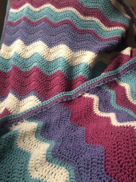 Manta de la ondulación por Telfordsgems en Etsy | Crochet ...