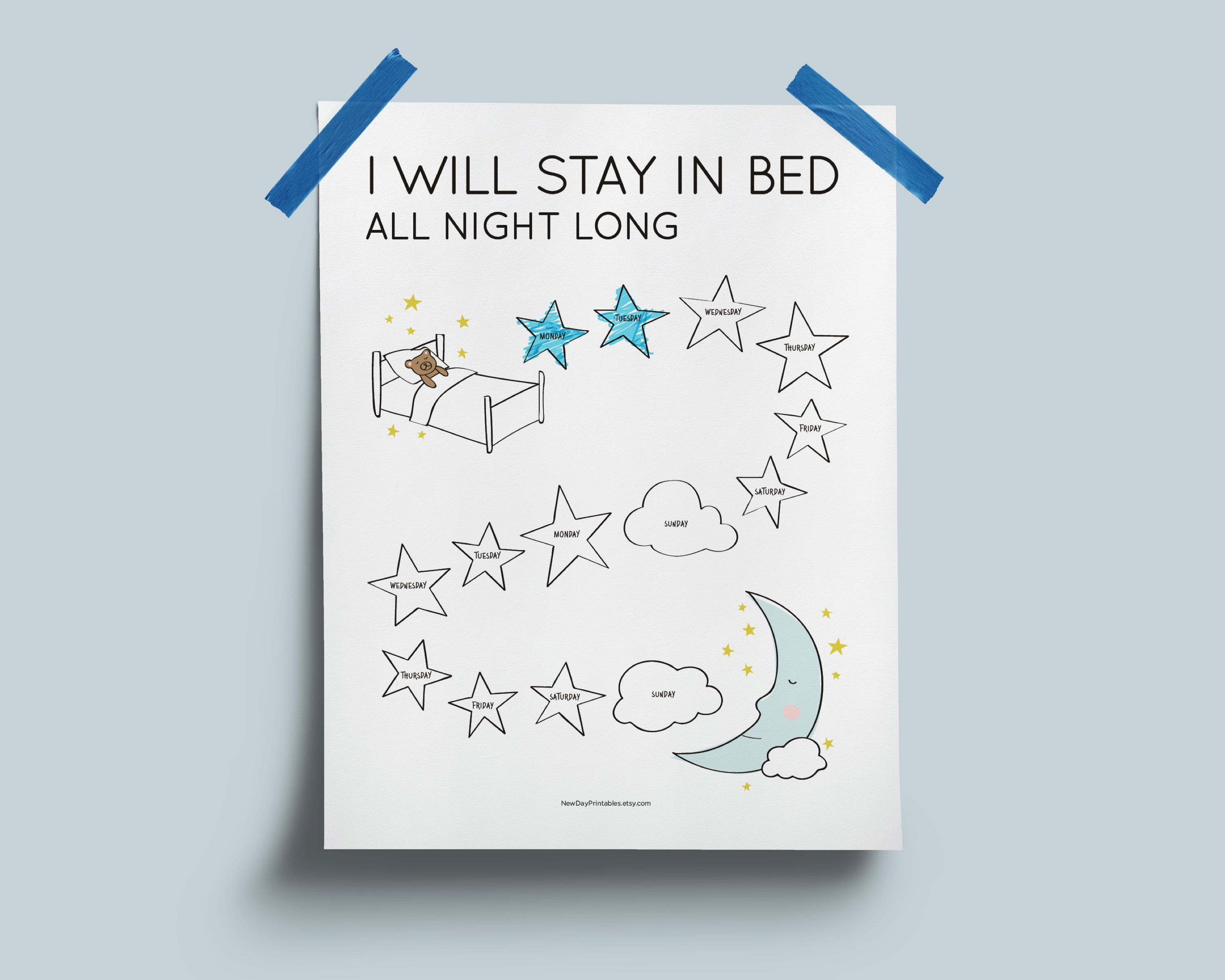Printable toddler sleep chart. Instant download. I will