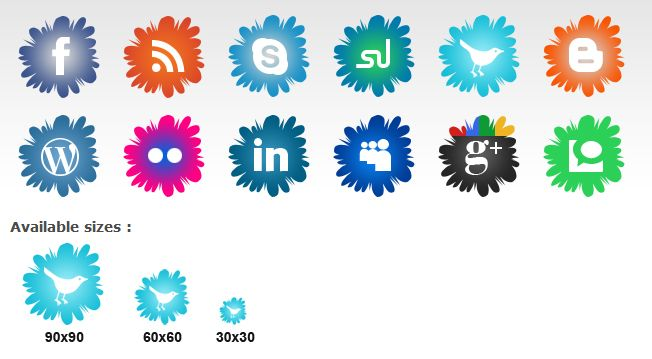 social+icons+flowers   Cute Social Media Icons