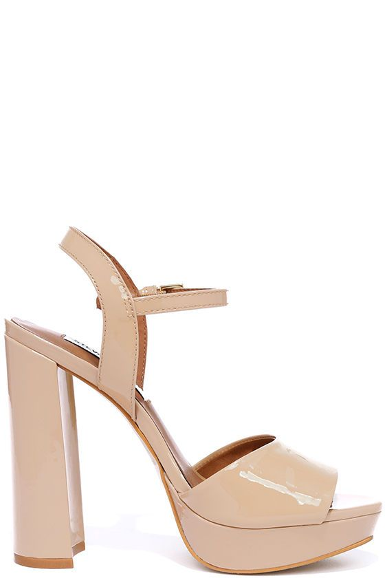 ff48bd6e12f9 Let the Steve Madden Kierra Blush Patent Leather Platform Heels take your  look up a level ... literally! Sleek patent leather upper forms a wide toe  strap ...
