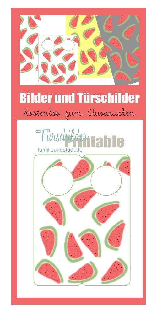WassermelonenDrucke und Trschilder zum Ausdrucken  Wassermelone