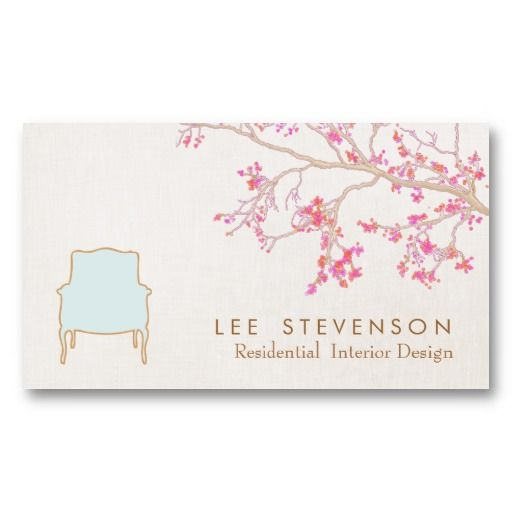 Interior Design French Chair Staging Decorator Business Card - Interior design business cards templates free