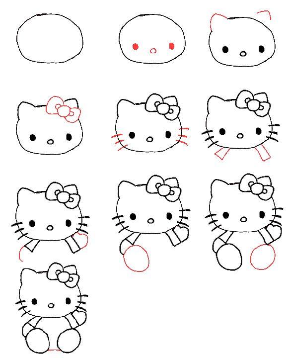Hello Kitty Tekenen Drawing Art Pinterest Dessin Apprendre A