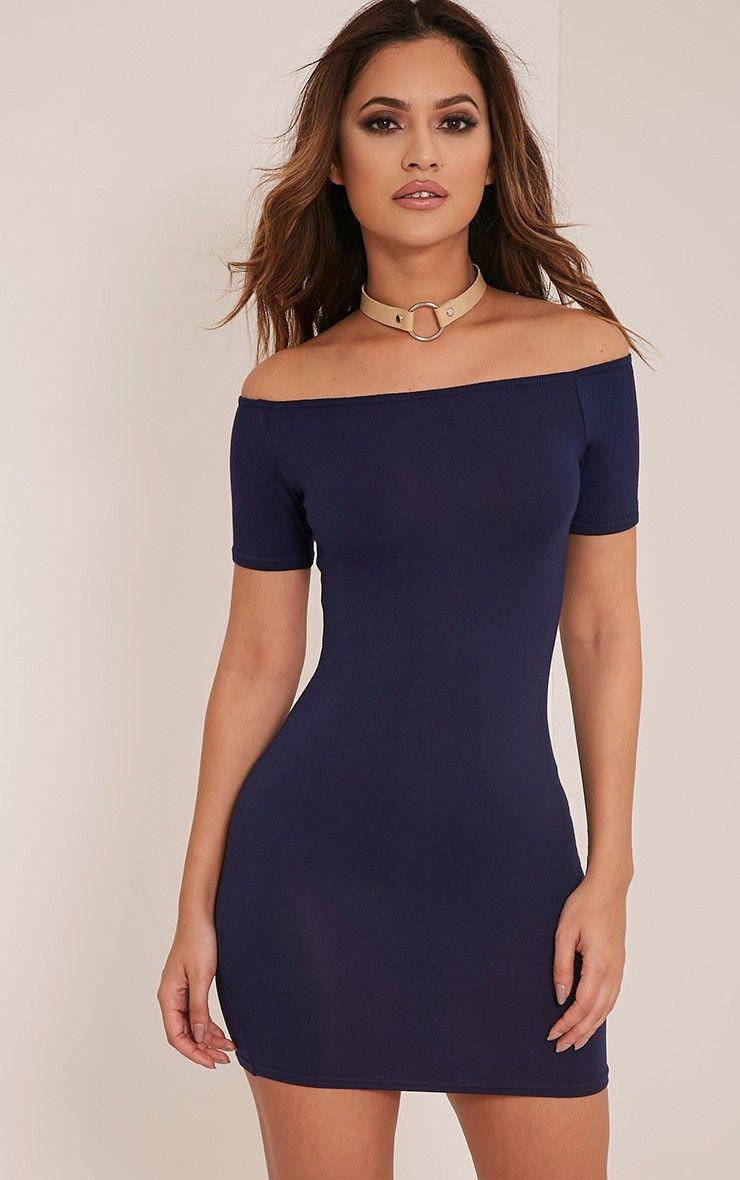 Basic Navy Short Sleeve Bardot Bodycon Dress Bodycon Dress Bardot Bodycon Dress Bodycon Cocktail Dress [ 1180 x 740 Pixel ]