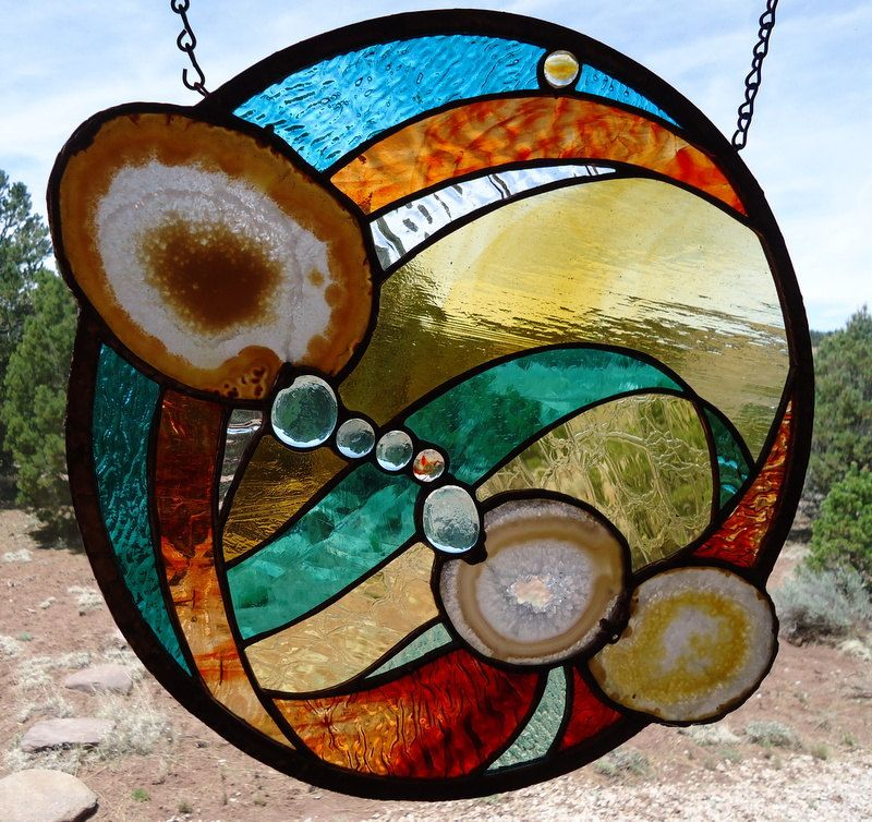 Stained Gl Window Panel Whirlwind Suncatcher Brazilian Agates Nuggets Contemporary
