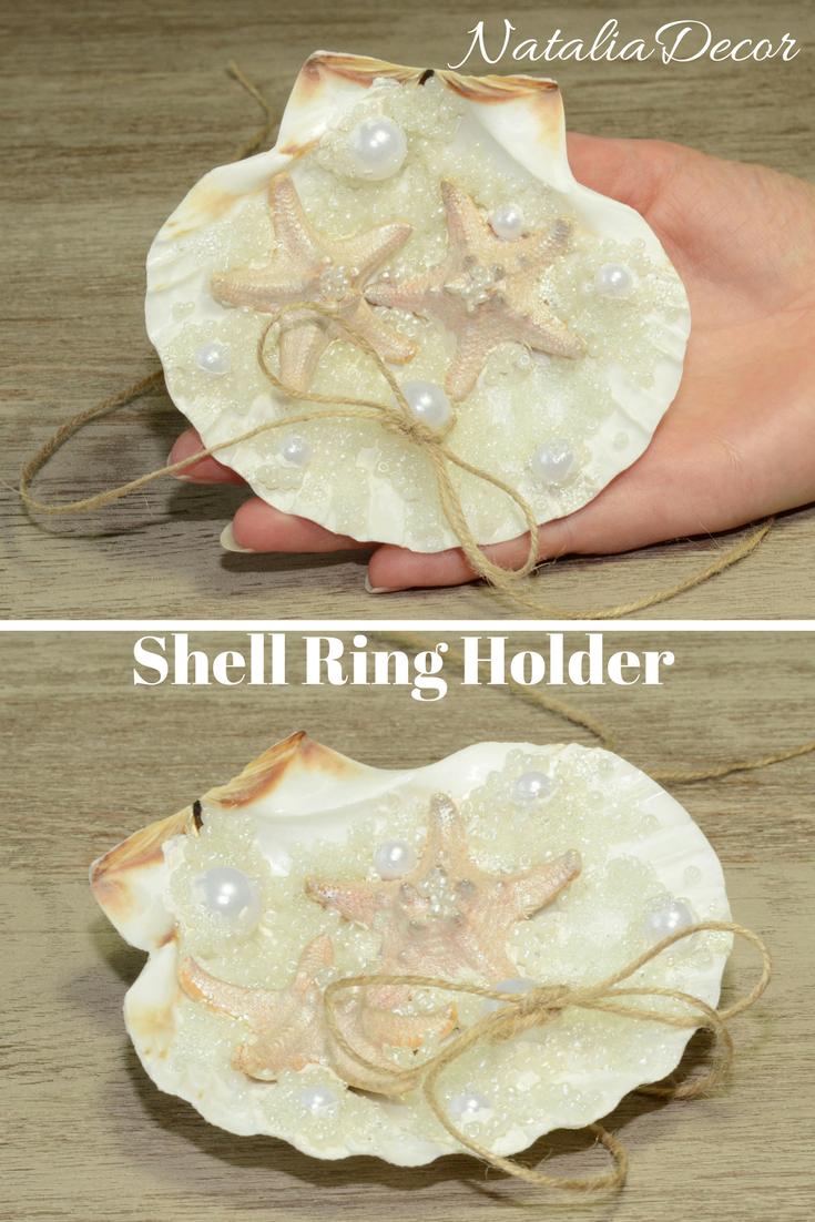 Seashell Wedding Ring Bearer Pillow Seashell Ring Holder Beach