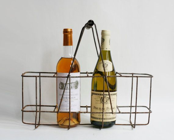 French bottle carrier metal wine rack  by VintageFrenchDecor