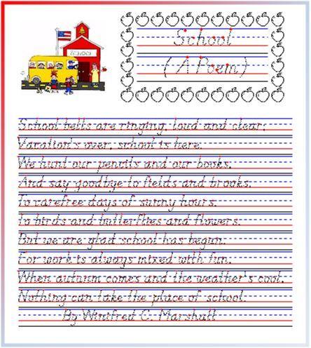 school a poem from startwrite improving handwriting homeschool poems school. Black Bedroom Furniture Sets. Home Design Ideas