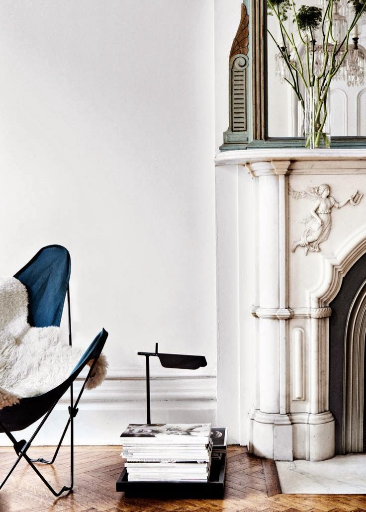 Modern Butterfly Chair Meets Ornate Mantel Contemporary Home Decor House Design Interior