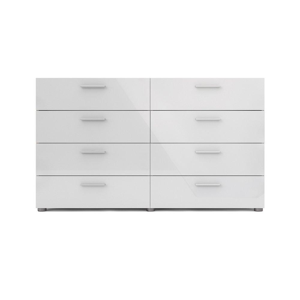 Tvilum Loft 8 Drawer Double Dresser Oak Structure White High Gloss Walmart Com In 2021 Double Dresser Tvilum Modern Dresser [ 1000 x 1000 Pixel ]