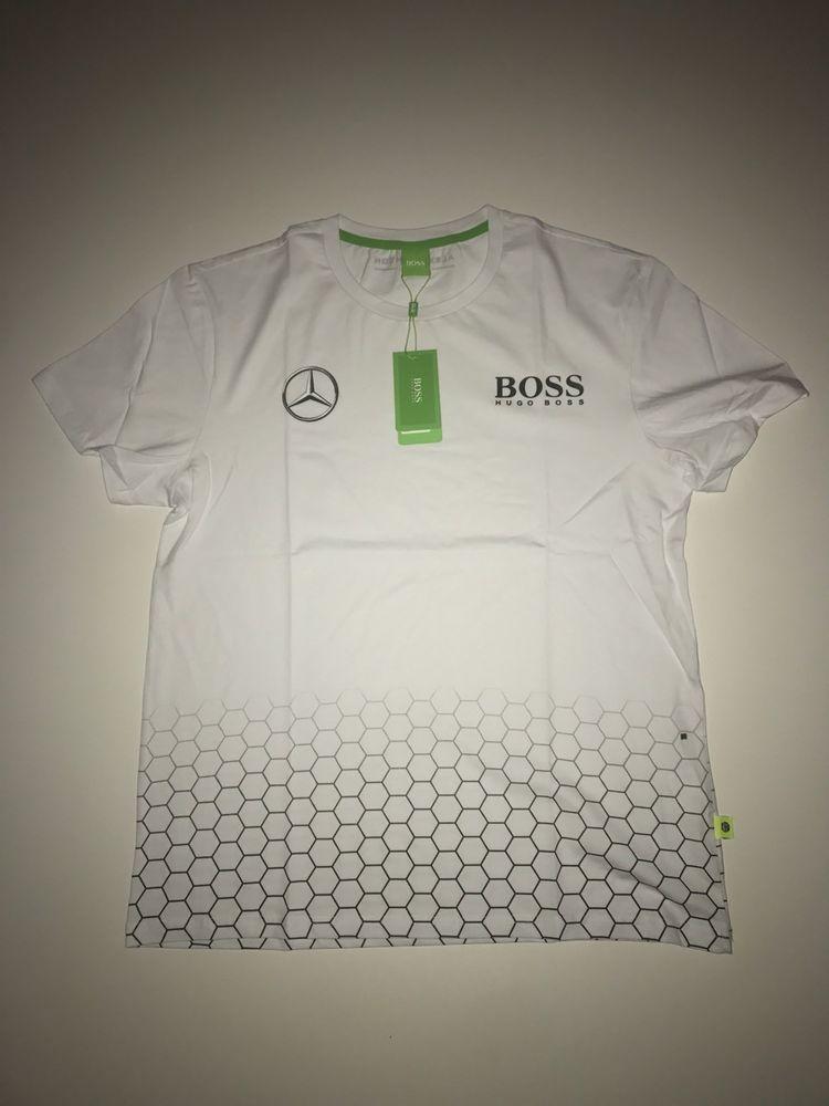 f78f0ff46 Hugo Boss Men Mercedes T-shirt Color White Green Label size XL #HUGOBOSS  #BasicTee