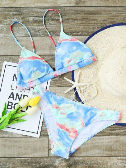 Set Bikini Triangulo Con Estampado Azul Claro Estilos De