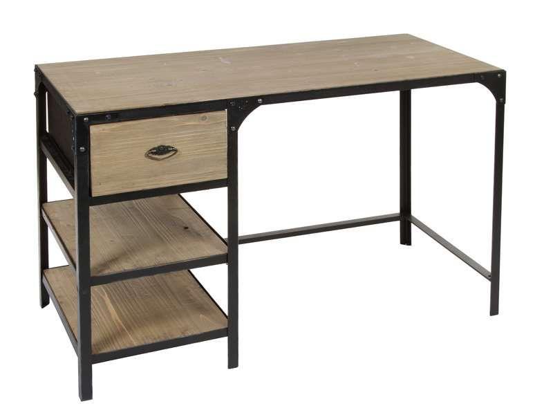 Escritorio forja madera metalical http www for Muebles de escritorio precios