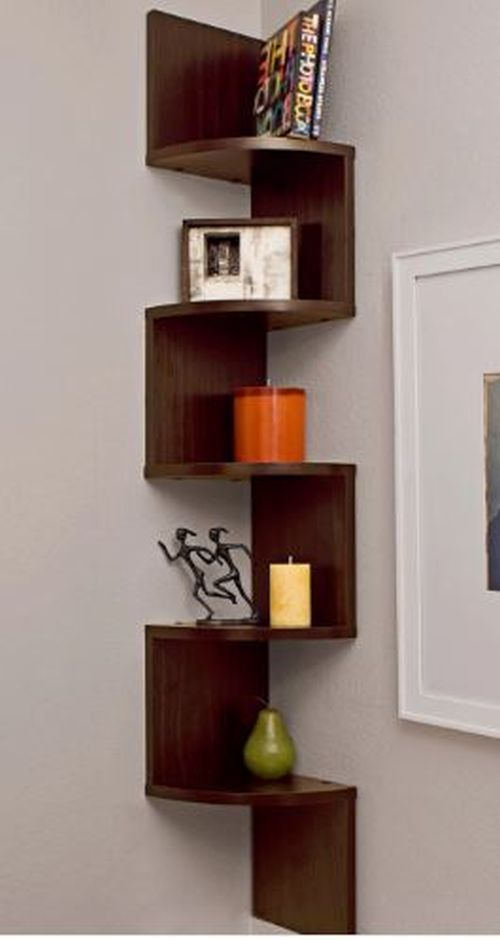 Corner Wall Shelf Home Decor Storage Display Unique Zig Zag Fun