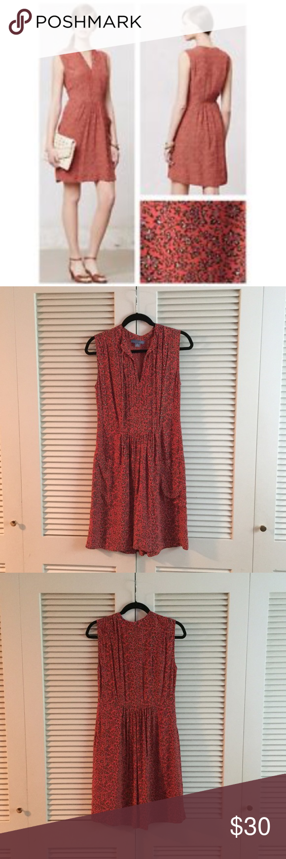 Anthropologie red floral dress by Lil, size 4 Red floral dress with pockets and zip closure on side, new without tags Anthropologie Dresses Mini
