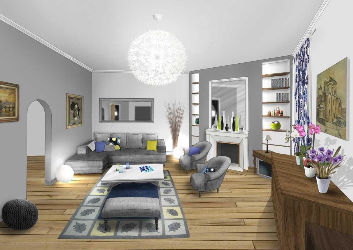 Salon classique déco blanc gris bleu bois www.archi-cochez.com ...