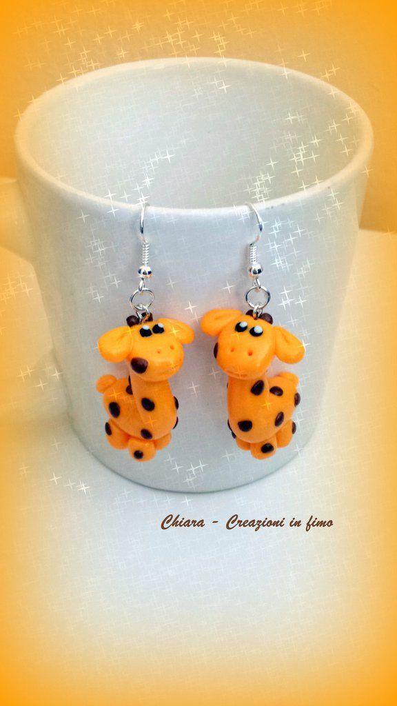 Orecchini In Fimo Handmade Giraffe Kawaii Miniature Idee Regalo