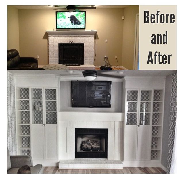 Diy Fireplace Built Ins Using 4 Ikea Billy Bookcases Added Glass Doors To The Inside Two Then Cut Outer Down Size Lined Backs With