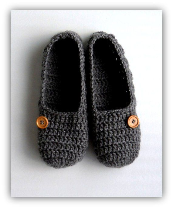 96f6e8ea4b5b Size 8.5 Women s Slippers Grey Slippers Crochet Slippers Handmade Gift for  Her Handmade Slippers wit