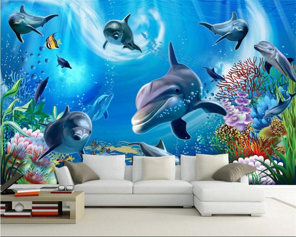 Beibehang Custom Wallpaper 3d Underwater World Aquarium Kids Room Cartoon Background Wall Living Mural Wallpaper Room Cartoon Background Under The Sea Drawings Underwater living room background