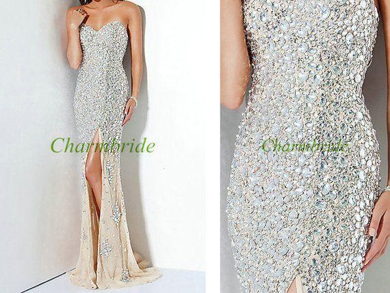 Latest long cream chiffon prom dresses with rhinestones,cheap ...