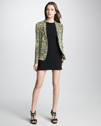 Victor Tweed-Print Jacket & Oka Fitted Dress by Diane von Furstenberg at Neiman Marcus.