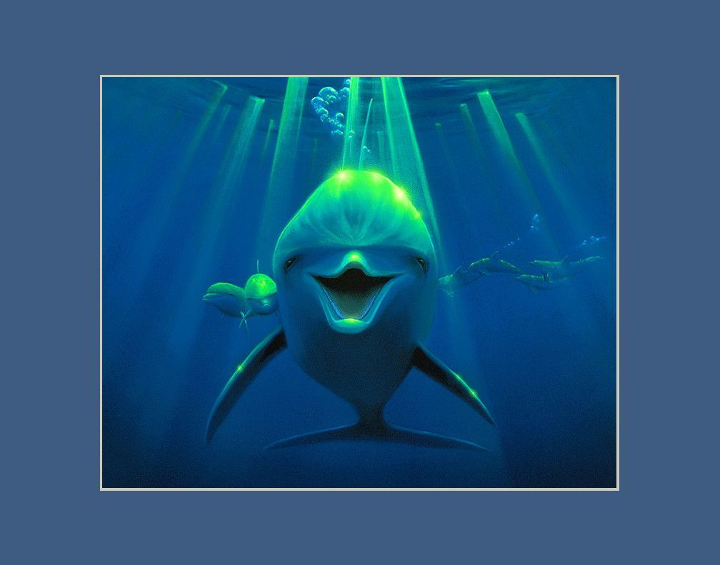 Friendly Curiousity Dolphin Matted Print by Hawaii Artist Thomas Deir