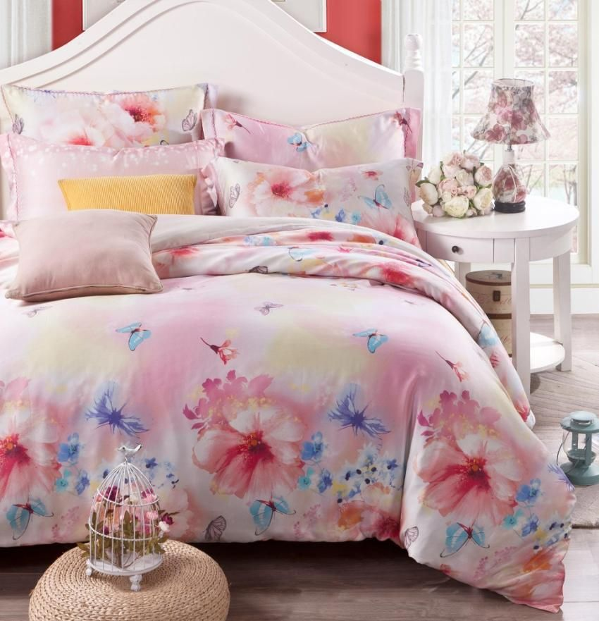 de luxe floral soie fleurs ensemble de literie papillon rose reine roi taille couette couette. Black Bedroom Furniture Sets. Home Design Ideas