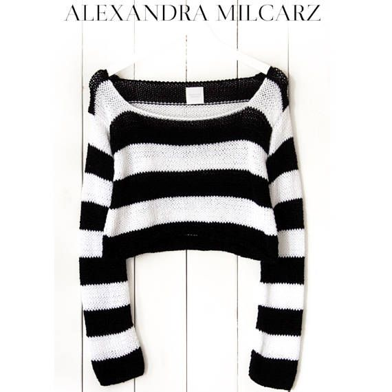 19b5fadab Short  Stipes  Sweater  Black  White  Stripes  Sweater  Handknitted ...