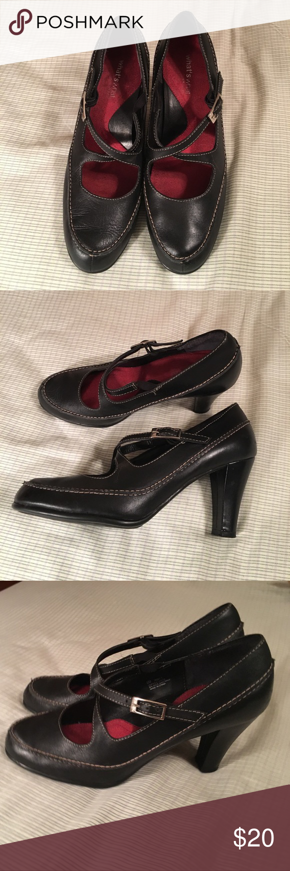 "👠 What's What by Aerosoles Black Mary Jane Heels Super cute Mary Jane style pumps by Aerosoles. So comfortable and hardly worn. Black faux leather with tan stitching, size 6, heel around 3"". Offers welcome! AEROSOLES Shoes Heels"